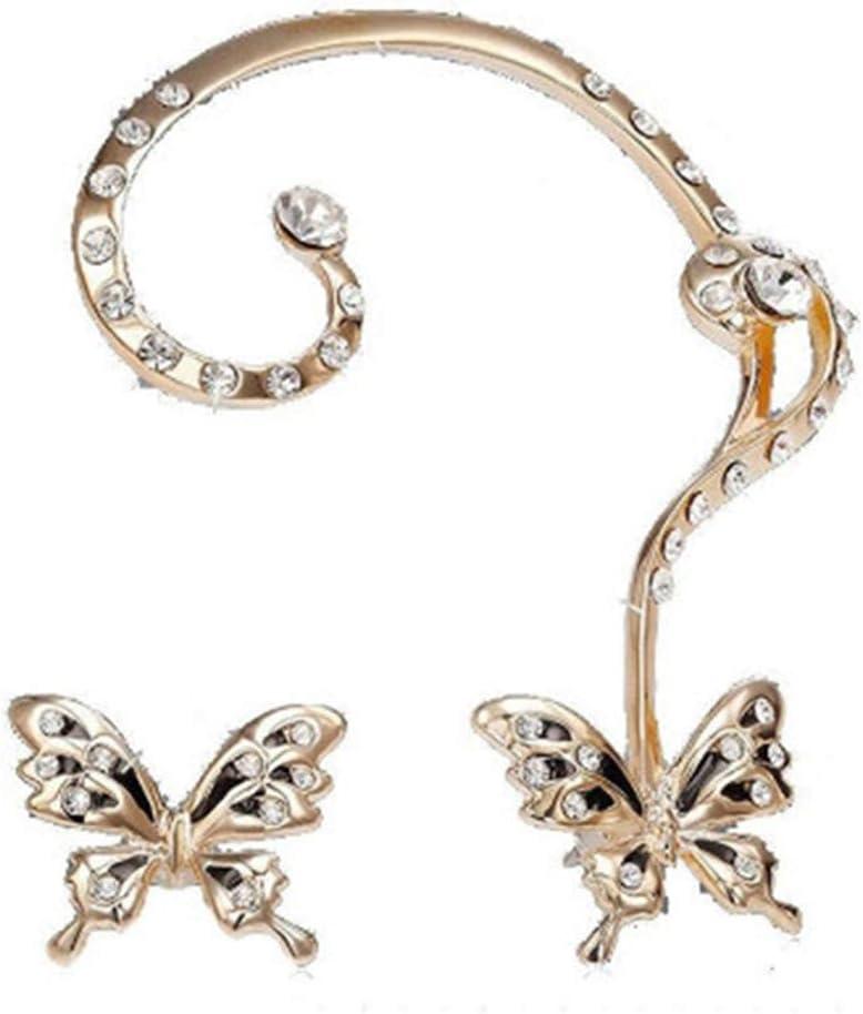TraveT Women Fashion Crystal Butterfly Cuff Ear Clip Wrap Earring Gift