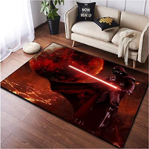 chengcheng Alfombra de Star Wars, alfombras de cabecera de Caballero Jedi, Alfombra de Piso de habitación de niños de Guerrero Negro 120x200cm