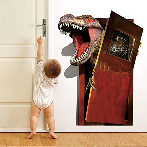 3D Jurassic Park World Dinosaur Break Puerta 45X60 CM Pegatinas de Pared Dormitorio Decoración Del Hogar Vivid Tatuajes de Pared Pvc Mural Art Decoraciones