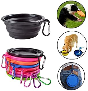 Collapsible Pet Bowl,Dog cat Pet Food Container 2-in-1 Travel Dish Bowl,pet Camping Silicone Travel Bowl,Pet Feed On-The-Go Bowls with Carabiner for large medium small pets Dishwasher Safe (Blue)