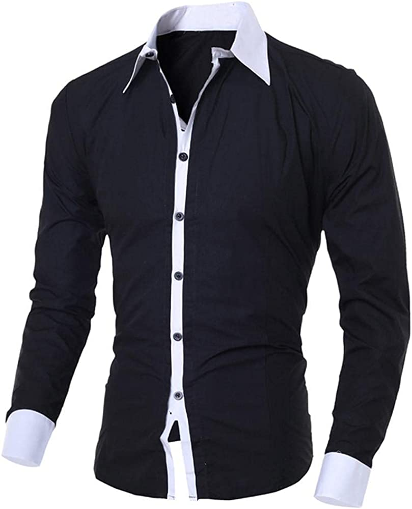 KEEYO Mens Casual Long Sleeve Dress Designer Shirts Slim Fit Cotton Business Button Down Western Shirts
