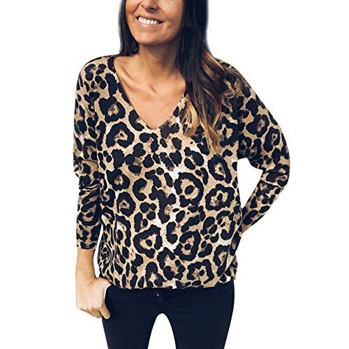 Camisetas de Manga Larga para Mujer,Estampado de Leopardo Blusas para Mujer Verano Camisetas Mujer Camisas Mujer Tops Mujer Blusas y Camisas, M