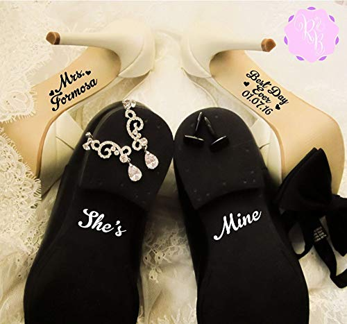 Juego de calcomanías para zapatos de boda – Mrs Best Day Ever + She's Mine – Pegatina para suela de zapatos de boda calcomanía para boda boda calcomanías para novia y novio