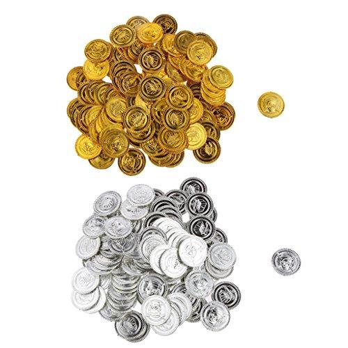 SM SunniMix 200x Piraten Münzen Piratenschatz Spielmünzen, Gold und Silber