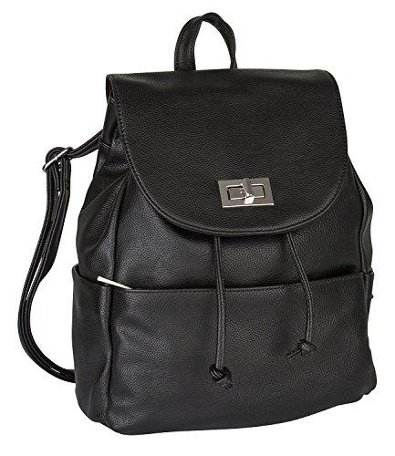 SIX Basic mittel großer schwarzer Damen Rucksack Handtasche Beutel mit Reißverschluß Tasche vorn und 2 Trage Riemen, Goldener Verchluß (463-401)