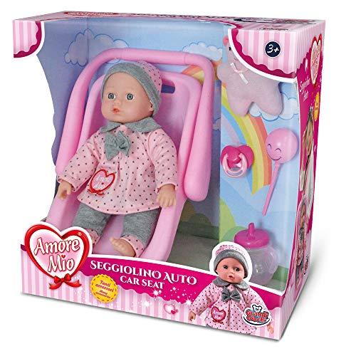 Grandi Giochi- GG71193, Amore Mio Seggiolino Auto con Bambola e Accessori, Colore Rosa