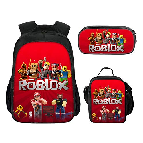 Roblox Rucksack mit Lunchbox & Federmäppchen, Student Bookbag Shcool Backpack Laptop Rucksack Reisetasche für Kinder Jungen Mädchen Teenager (Farbe 3)