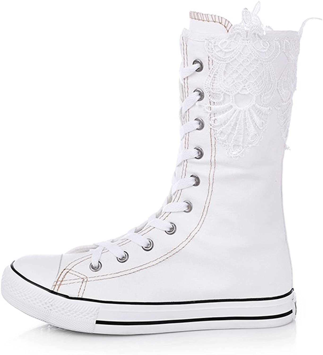 Cloudless Classic High Top Canvas Sneakers for Women Girls Lace up High Boots