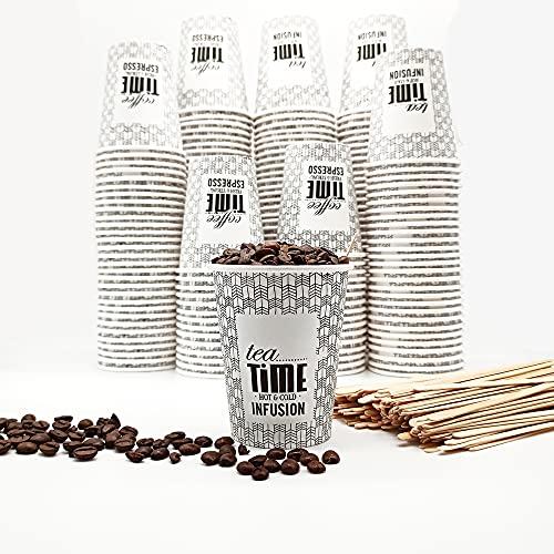 OnlyBP - 200 Vasos para café desechable de 240 ml con paletinas de madera, para te, café, bebidas frías y calientes