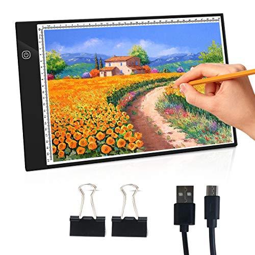 NONZERS Leuchttisch, A4 Light Pad, LED Licht Tracer, Art-Craft Tracing Pad, Light Box mit USB-Kabel, Helligkeit Verstellbar Leuchtkasten, Cartoon, Karikatur Pad zum Zeichnen