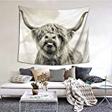 Combi van surf Tapestries, Boho Wall Tapestry Wall Hanging Tapestry - Home Indian Decor Retro Art Living Room Bedroom Dorm Room (Highland cow)