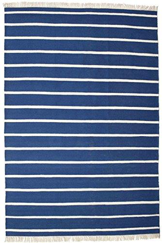 CarpetVista Alfombra Dorri Stripe, 220 x 320 cm, Rectangular, Moderna, Algodón, Corredor, Cocina, Salón, Dormitorio, Blanco/Azul Oscuro