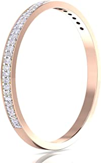 14k Gold Half Band Natural Diamond Wedding Anniversary Ring (1/10 cttw G-H Color I1-I2 Clarity) (rose-gold 5)