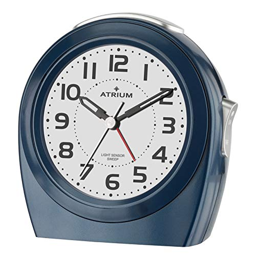 Atrium Elegante wekker nachtlampje analoog kwarts zonder getikt donkerblauw A451-5