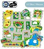 Hakuna Matte Puzzlematte für Babys – TÜV SÜD GS Zertifiziert – 16 Schaumstoffplatten mit Straßen und 11 Fahrzeugen – 20% dickere Spielmatte in Einer Aufbewahrungstasche – 1,2x1,2m