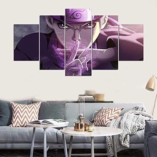 FJLOVE Print Wall Art, 5 Stück Naruto VS Sasuke Anime Wallpaper auf Leinwand für Home Wohnzimmer Büro eingerichtet Dekoration Geschenk (ungerahmt),B,150x80cm