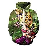 LKKOY Dragon Ball Figura Impresa De Mangas Largas Hombres Sudadera con Capucha 3D Anime Sweatshirt B...