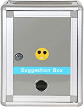 RONTENO Plastic Suggestion Drop Box Letter Box Complaint Box with Lock for Office, Silver Color