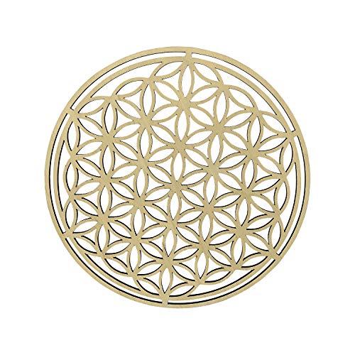 HOLZBIBER® Blume des Lebens 20 cm Durchmesser Made In Germany Holz Ausschnitt zum Aufhängen Fensterschmuck Wandschmuck Amulett