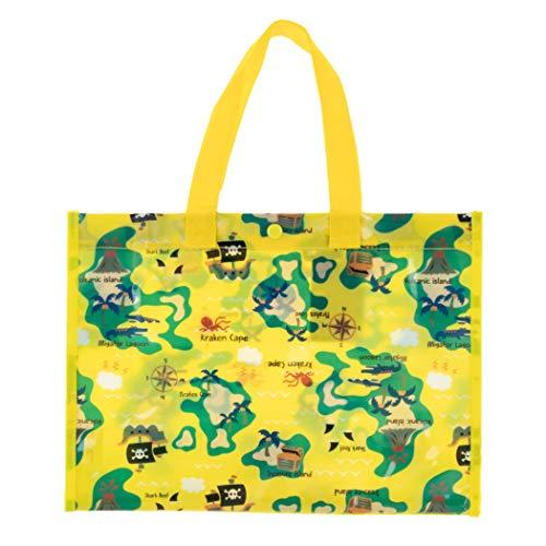 Teddy プールバッグ ビーチバッグ 女の子 男の子 キッズ 子供 防水 水泳 スイミング用 ビニール 透明 トートバッグ bag170 (B:海賊マップ・イエロー)