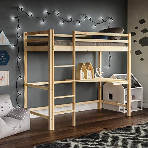 Vida Designs Sydney Etagenbett Stockbett, Solides Pinienholz Kinder Hochbett Bettgestell mit Tisch, Perfekt für Kinder, Einzelbetten 90 x 190 cm, Natürliche Pinie