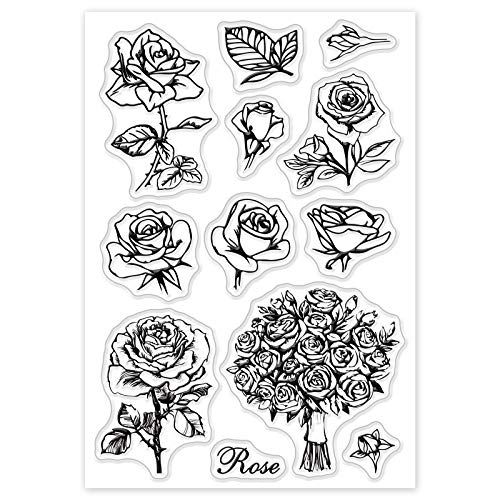 GLOBLELAND Rose Flower Clear Stamps Silicone Stamp Cards for Card Making Decoration and DIY Scrapbooking