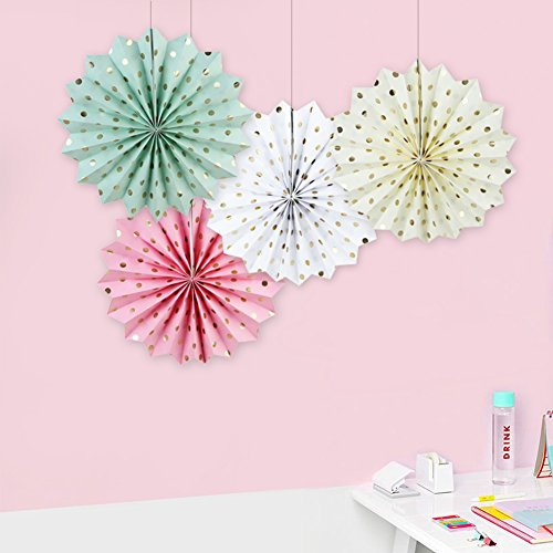 SUNBEAUTY Pack of 3 Tissue Paper Fans Collection Gold Dot Paper Fans Hanging Party Fans Decorations (Mix-2)