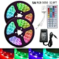 HIKENRI LED Strip Light 32.8ft 300LEDs SMD 5050 RGB Rope Lighting Color Changing Full Kit with 44-Keys IR Remote Controller & Power Supply Led Strip Lights for Home Kitchen Bed Room Decoration