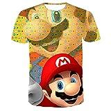 Camiseta de Gran tamaño Camiseta para niños de Manga Corta, Juego clásico Super Mario Bros Camiseta Impresa en 3D Hombres Mujeres Harajuku Camiseta
