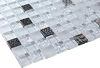 Glossy Ice Cube Raindrop Modern Square Glass Mosaic Tiles for Bathroom and Kitchen Walls Kitchen Backsplashes