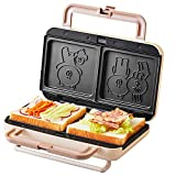 GENG Tostadora panini Que no se pegue Waffle máquina eléctrica de Dibujos Animados Multifuncional Desayuno Tostadora sandwichera máquina de Pan