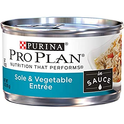 Purina Pro Plan Wet Cat Food, Sole & Vegetable Entree in Sauce - (24) 3 oz. Pull-Top Cans