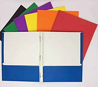 Office Depot Brand School Grade 3-Prong Portfolios, Assorted Colors, Pack of 10