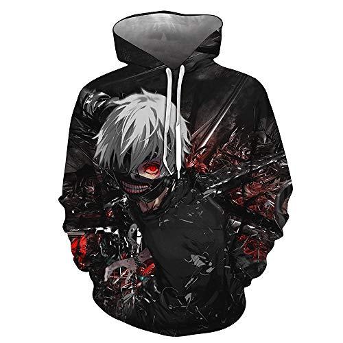 hengGuKeJiYo Männer Tokyo Ghoul 3D-Druck Pullover Hoodie Sweatshirt Unisex Anime Langarm Paar Pullover Tops