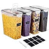 SIKITUT Recipientes para Cereales, Botes Cocina de Alimentos, Jarras de Almacenamiento de Plástico con Tapa para Cereales, Pasta, Arroz, Harina Sin BPA 3.7L 4 Piezas
