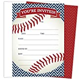 Baseball Party Invitations in Red and Navy. Set of 25 Baseball Themed Cards and Envelopes for Kids Birthday Parties, Baby Showers and Sprinkles, Bachelor or Bachelorette Parties, or Any Occasions.