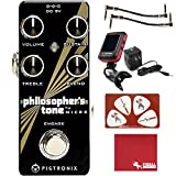 Pigtronix Philosopher's Tone Micro Compression/Sustain Guitar Effects Pedal with 9V Power Supply, Patch Cables, Tuner, Polish Cloth, and Picks