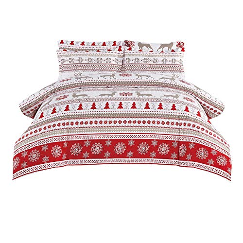 DelbouTree Christmas Duvet Cover Set,Holiday Comforter Cover,Reindeer and Snowflake Pattern,Queen Red and White
