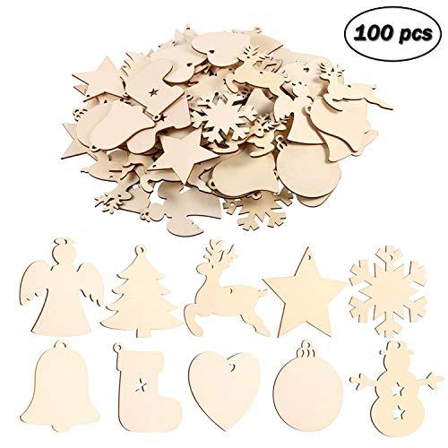 EKKONG 100 Stück Holz Christbaumschmuck, Weihnachtsbaum Deko,Weihnachtsanhänger,Weihnachtsbaumschmuck,Weihnachtsanhänger Deko, Christbaumschmuck Handwerkliche Verzierungen für Weihnachten