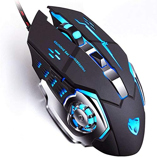 Gaming Mouse Wired, USB Optical Computer Mice with RGB Backlit, 4 Adjustable DPI Up to 3200, Ergonomic Mouse with 6 Programmable Buttons for Laptop and PC (Black)
