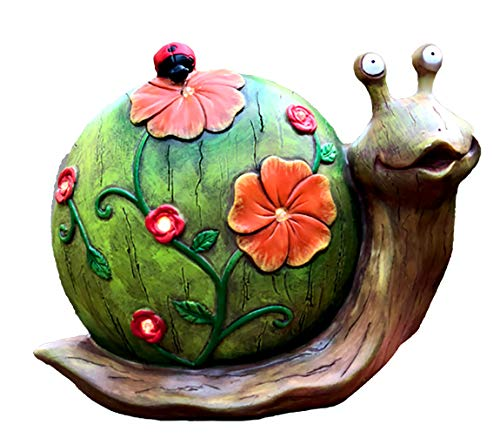 Solar Powered Snail with Flowers and Ladybug Outdoor LED Garden Light Decor, 10.5 x 8.5 Inch