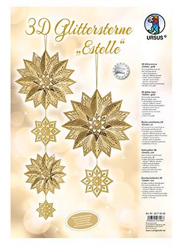 Ursus 33770000Glitter Estrella 3D Estelle, Material para 3Estrellas, Oro