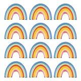 TOYANDONA 12Pcs Paper Plates Dinnerware Set Rainbow Cake Plates Party Tableware for Wedding Thanksgiving Christmas Dinner (Colorful)