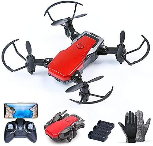 Pliers Mini rc. Drone, Dotato di 2 Milioni HD Fotocamera, con 3 batterie, Pieghevole FPV. WiFi Rc. Quadcopter, Sospensione Fissa Altezza, 3 velocità Regolabili for Bambini e Adulti (Color : Red)