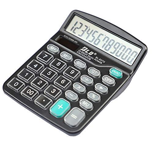 HIHUHEN Calcolatrice da tavolo a 12 cifre Calcolatrice solare a pulsanti grandi per la scuola domestica - Batteria fornita (1 x Black)