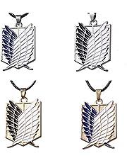 Hopowa Attack on Titan Collar, Colgante de 4 Piezas con Collar de cordón de Cuero, Colgante de alas de Manga, Regalo Azul Blanco para Accesorios de Disfraces de Anime Fan Survey Corps