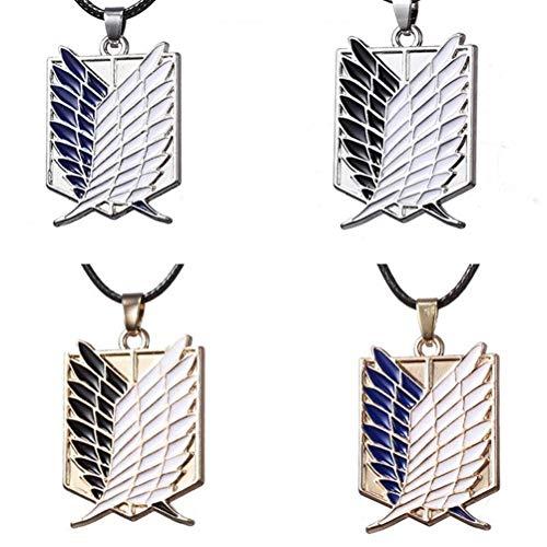 KUANPEY 4 piezas de collar con colgante de logotipo de Attack on Titan Survey Corps, regalo de cumpleaños para fanáticos de anime