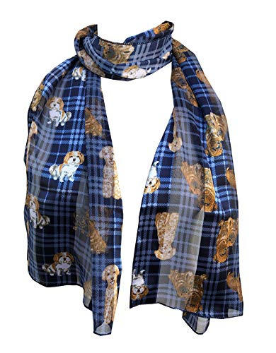Pamper Yourself Now Tartan blau Hunderassen glänzend mit verschiedenen Hund dünnen langen Schal(Blue tartan shiny dog with different dog breeds thin long scarf)