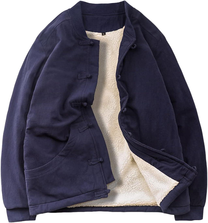 Haellun Men's Winter Warm Tang Chinese Tang Kung Fu Thick Fleece Sherpa Lined Jacket Coat