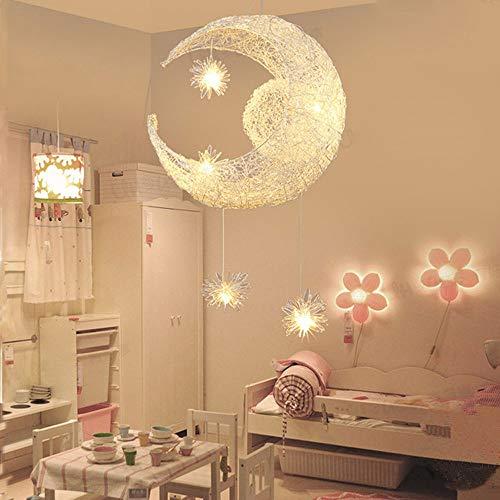 Suspension Luminaire Lune étoiles LED Pendentif Lampe Aluminium Lustre Plafonnier pour Enfants Chambre Décoration, 40 * 110cm